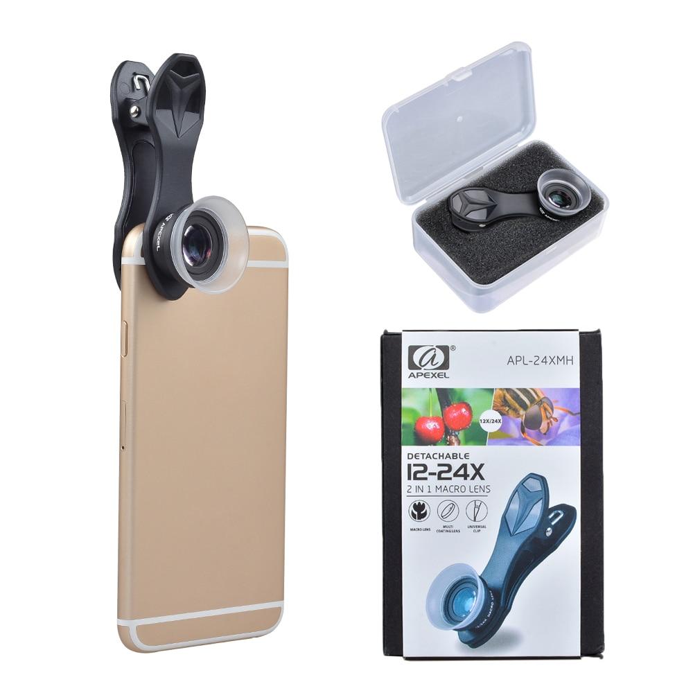 Apexel lentille de téléphone portable Super Macro 12X 24X Lentilles de caméra pour iPhone x 7 8 PLUS Xiaomi Samsung note8 s8 S7 lentille de bord avec clip|mobile phone lens|phone lens|super macro - title=