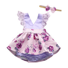 ARLONEET Toddler Baby Gilrs Sleeveless Lace Ruched Romper Jumpsuit Headband Floral Ouifit Baby Girls Clothes Rompers&ClothingP35(China)