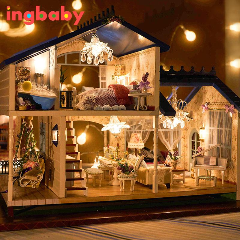 DIY Puzzle Assembled Villa Provence Cottage Child Handmade Dollhouse Model Set Combination Boy Girl Birthday Gift WJ1010 ingbaby цена