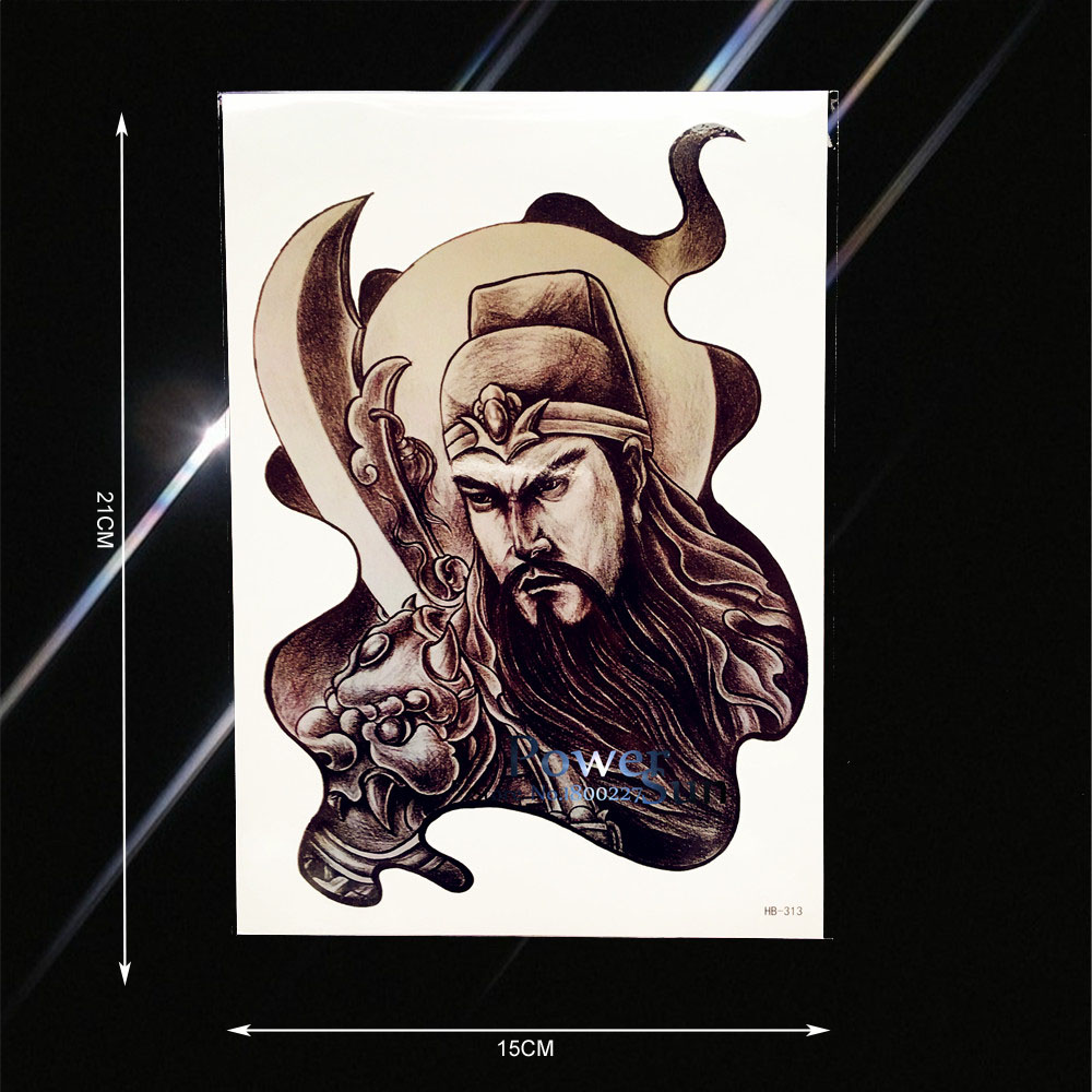 1PC Sketch Style Men Women Body Leg Art Temporary Tattoo Chinese Guan Yu Broadsword Design Waterproof Arm Tattoo Stickers PHB313