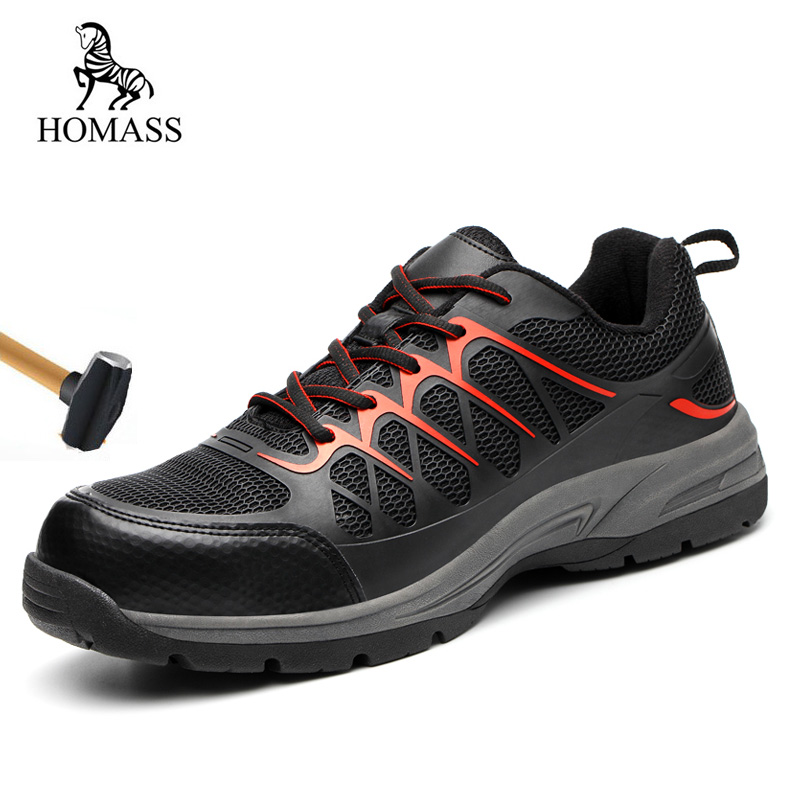 HOMASS 2018 High Quality Outdoor Breathable Mesh Steel Toe Cap Work Safety Boots Men Anti-slip Puncture Proof Protetive Shoes halinfer men s anti static non slip ankle boots outdoor steel toe cap work