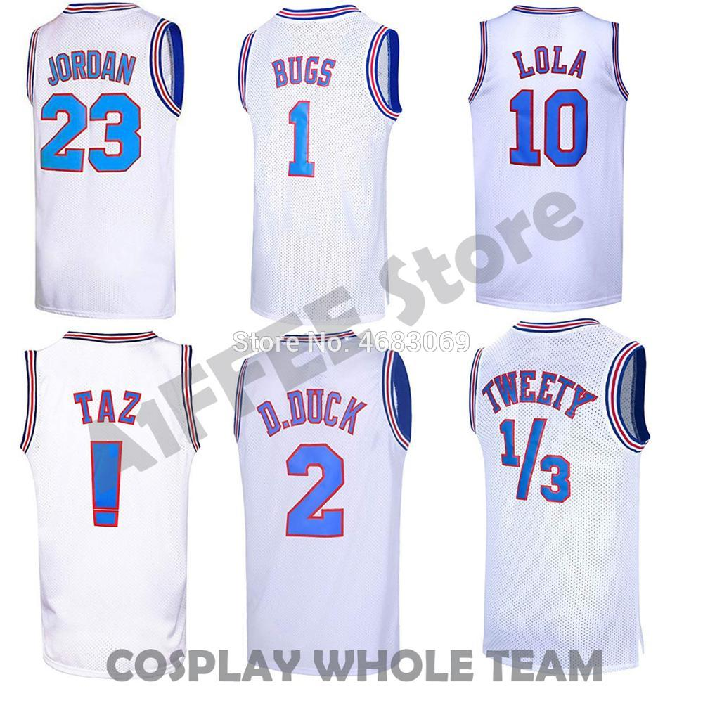 Movie Cosplay Costumes Space Jam Tune Squad #23 #1 BUGS BUNNY #10 LOLA #22 Murray Basketball Jersey Stitched Number(China)