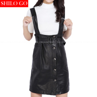 Plus size new fashion winter women high quality Sheepskin high waist Slim belt buckle pocket strap Genuine Leather tank dress