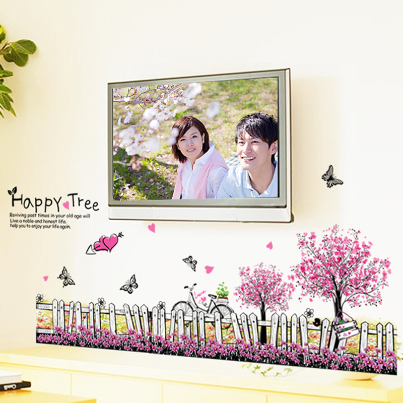≧happy tree flower butterfly fence vinyl removable decals for