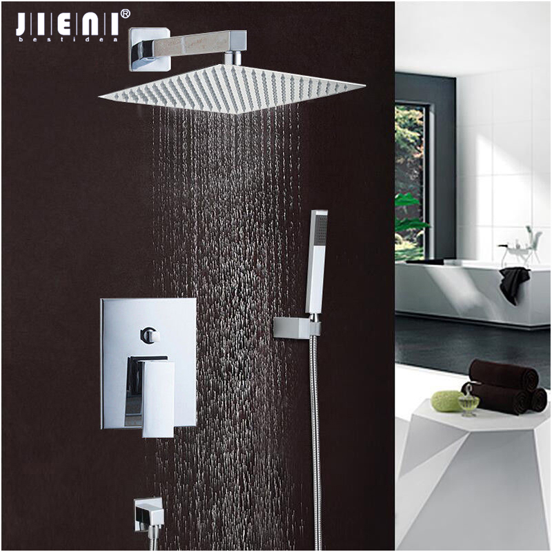 JIENI Good Quality Best Price Chrome Finish Bath Shower Mixer Faucet Set Single Handle Waterfall Rain