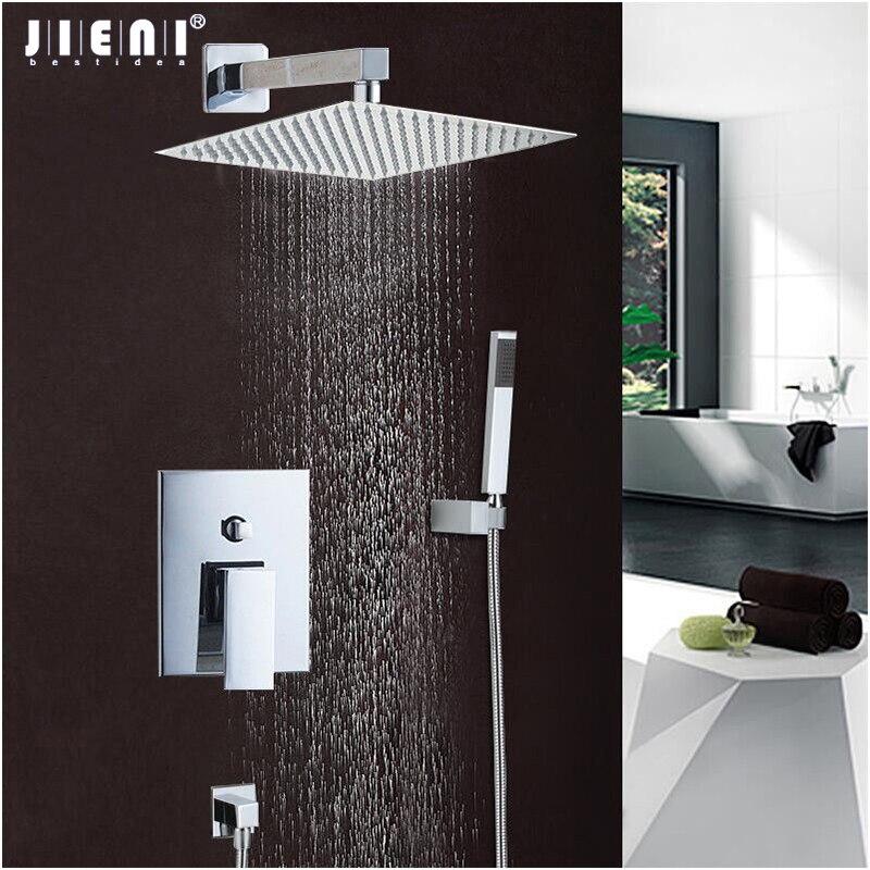 JIENI Good Quality Best Price Chrome Finish Bath Shower Mixer Faucet Set Single Handle Waterfall Rain Shower Set Faucets