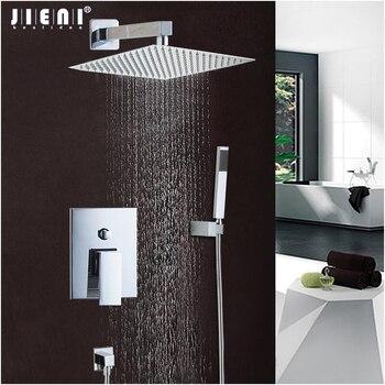 JIENI Gute Qualität Beste Preis Chrome Finish Bad Dusche Mixer Wasserhahn Set Einzigen Handgriff Wasserfall Regen Dusche Set Armaturen