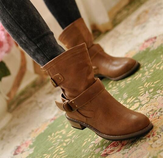 2016 Autumn and Winter Shoes Women's Boots in the tube Martin Boots Motorcycle boots flat boots Size 35-41 2016 paris show locomotive boots liu wen with the cool boots hollow out black martin boots ladies shoes comfortable flat boots