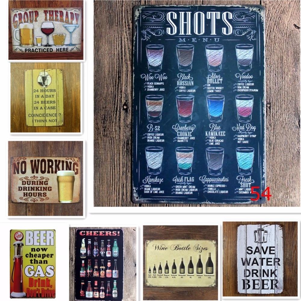 Metal Tin Sign SHOTS MENU Bar Pub Home Vintage Retro Poster Cafe ART