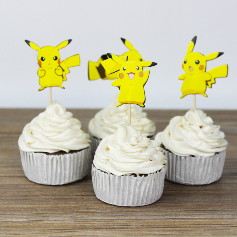 24pcs Lovely Cartoon Pikachu Cup Cake Topper Pick Party Supplies Picks Birthday Wedding Decoration In Decorating From Home Garden On