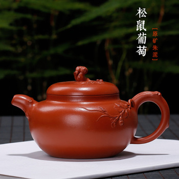 clay pot, cinnamon pine grape pot, hand-made flower pot, Wang Zhenxue, national craftsman's works on behalf of shipment