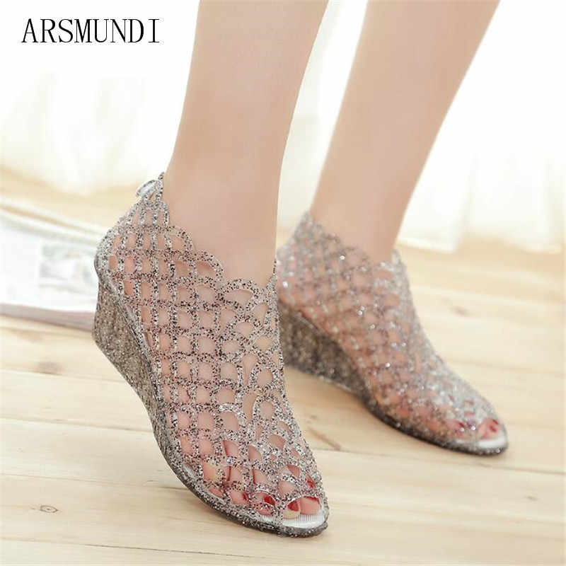 18ddcc5e18bc ARSMUNDI Summer Women Glass Hollow hole Flat With Sparkling Croc Golden  Sandal Jelly Crystal clog Casual
