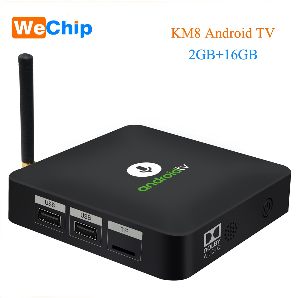KM8 ATV Android TV 8.0 TV Box w/ BT / IR Voice Amlogic S905X 2GB/16GB Support Google Home / Cast 3D WiFi 4K Media Player PK X96