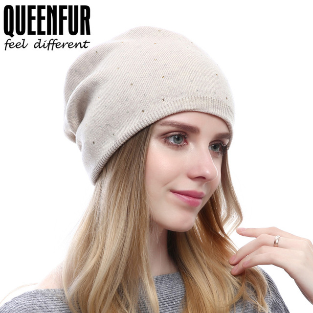 12c138c041b6d QUEENFUR Winter Women Wool Beanies Female Knitted Wool Hat Solid Colors Top  Quality Cap Skullies Casual Hats