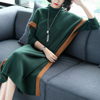 Wholesale New Comfortable Long Sleeves Women Dress Tuttleneck Lady Dress Fashion Warm Mid Calf A Line Knitted Dress