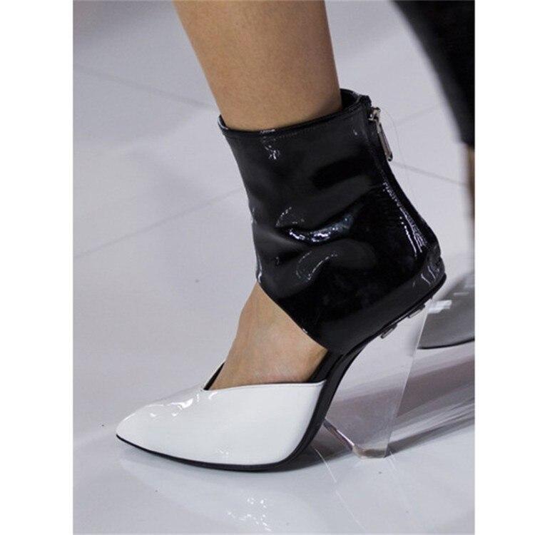 Plus Size Moda T Mostrar Mulheres Botas Sandálias Chiques Cut outs Superior Primavera Outono Sapatos Mulher Apontou Cunhas Dedo Do Pé claros Saltos Pista - 3