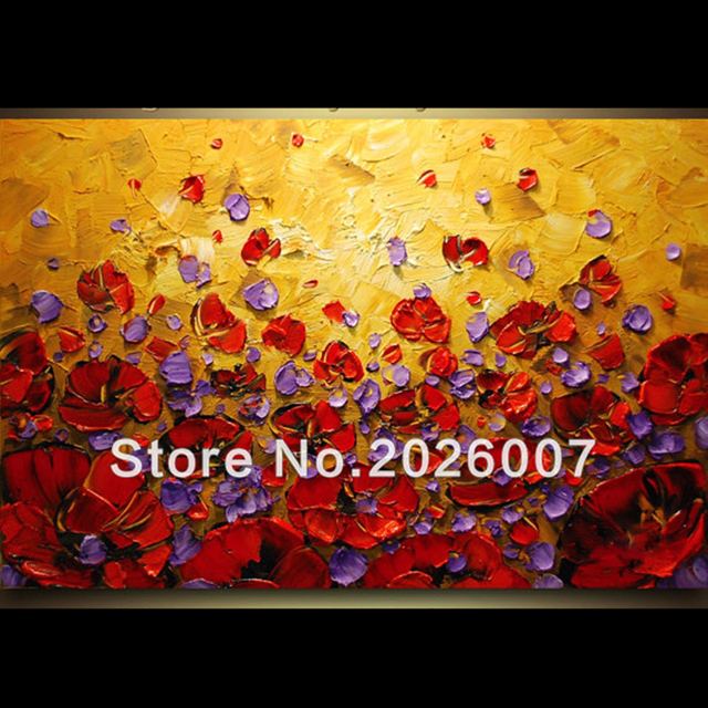 Hand Painted Landscape Abstract Palette Knife Purple Red Poppies ...