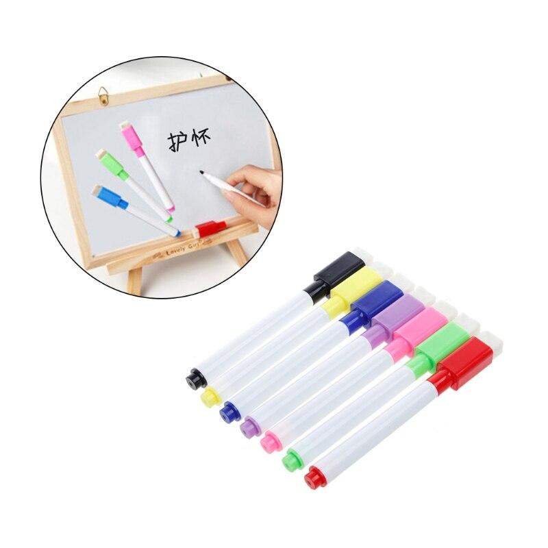 5Pcs/Set Whiteboard Pen Erasable Dry Whiteboard Markers Magnet Built In Eraser Office School Supplies