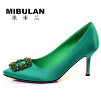 Free Shipping Female Colorful Diamond Buckle Green Color Silk Stain Wedding Pumps Women S Green Color