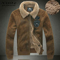 Winter Warm Leather Jacket Flight Jackets Faux Sheepskin Coat Lambswool Lining Brown Big Size 6XL Emblem Fast Shipping