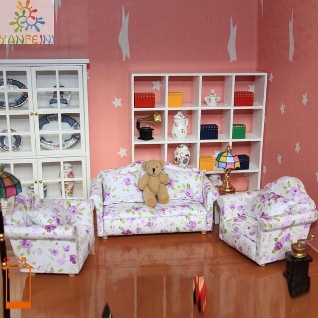 1 12 Dollhouse Meja Ruang Tamu Sofa Furniture Boneka Play Armchair Toys 8 Pcs