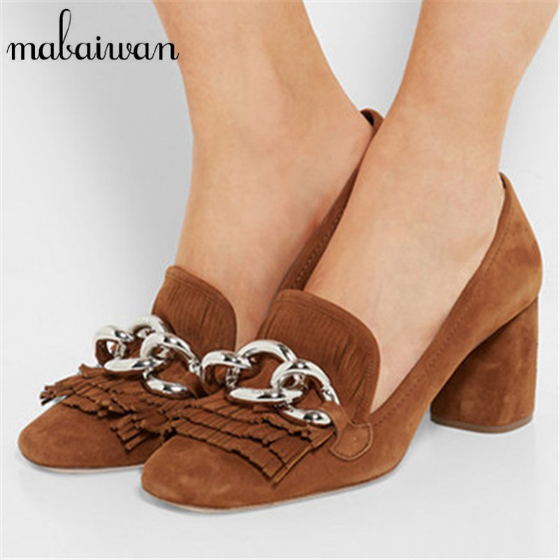 Fashion Style Suede Women Pumps Sexy Chain Decor High Heels Fringed Wedding Dress Shoes Woman Square Heel Valentine Shoe yukari iwatani kane haunted empire apple after steve jobs