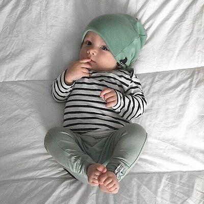 ¡Unids Juego de 3 piezas para bebés!! Camiseta a rayas de manga larga para bebés y niñas + Pantalones largos verdes + greenHat