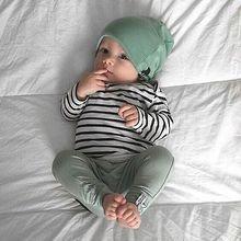 3PCS Baby Set Baby Boys Girls long sleeve striped T shirt long green Pants greenHat