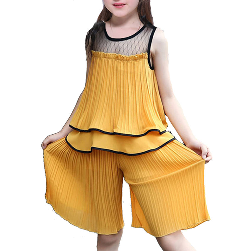 Girls Sets Fashion Sleeveless Summer Sets for Kids Clothes New Children Outfits T-shirts + Shorts 2pc Baby Casual Flower Suits 2pcs children kids baby girls outfit sets chiffon t shirt tops shorts sleeveless summer outfits suit cute girls clothes sets