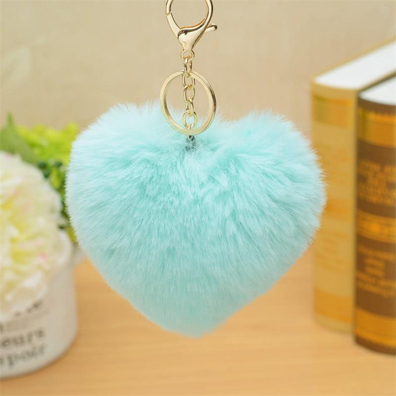 Charms Crystal Faux  Fox Plush Toy Animal Keychain Heart-shaped Unicorn Fox Key Pendant Suffed Animal Toy Licorne 28