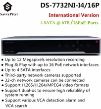 Original HiK English Version NVR DS-7732NI-I4/16P 32CH with 4 SATA & 16 PoE Ports for 12 Megapixel IP Camera Recording H.265