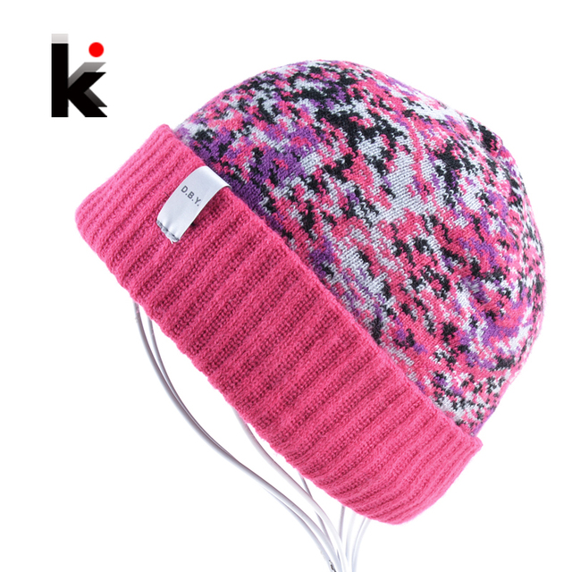45bb92ad 2018 Womans Sportsman Hats Bonnet Winter Beanie Knitted Wool Hat Jacquard  Cap Female Mens Skullies Beanies