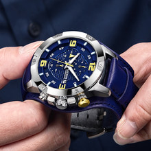 41d8fc43d7e4 Superior de la marca de lujo de reloj MEGIR hombre cronógrafo reloj Relogio  Masculino azul de negocios de cuero reloj de cuarzo .