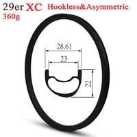 Super Light 350g 29er Mountain Bike Carbon Rim Tubeless Ready For XC Cross Country Wheels Asymmetric Style 28.6mm Width
