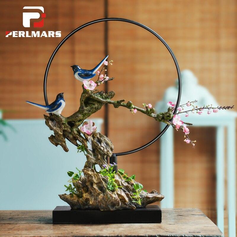 110 В/220 В творческий ручной моделирования деревья птичка течет фонтан Изделия из смолы китайский дзен Украшения Рабочего Стола Подарок