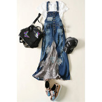 Spring, summer and autumn cowboy embroidered dress Denim dress A drill jean dress suit
