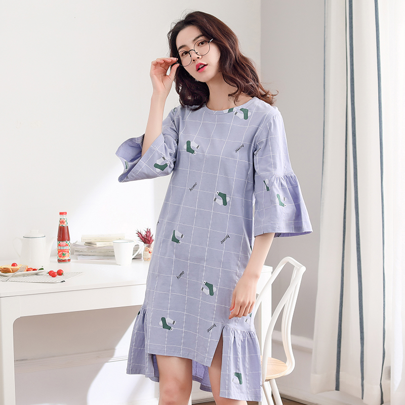 Brand New 100% Cotton Women's   Nightgown   Lounge Nightdress Femme Sleepwear Casual Nightwear Loose   Nightgowns   Fashion   Sleepshirts