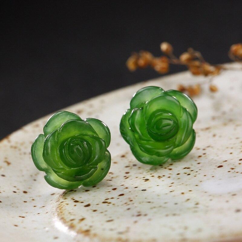 2018 Sale Brinco Inlay Hetian Jade Plum Flower Lady Style Restoring Ancient Ways Temperament Joker Fashion