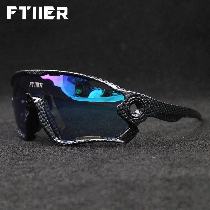 Ftiier 5 Lens Photochromic Cycling Eyewear Men Women Bicycle Bike Sunglass Outdoor Sport MTB Goggles Polarized