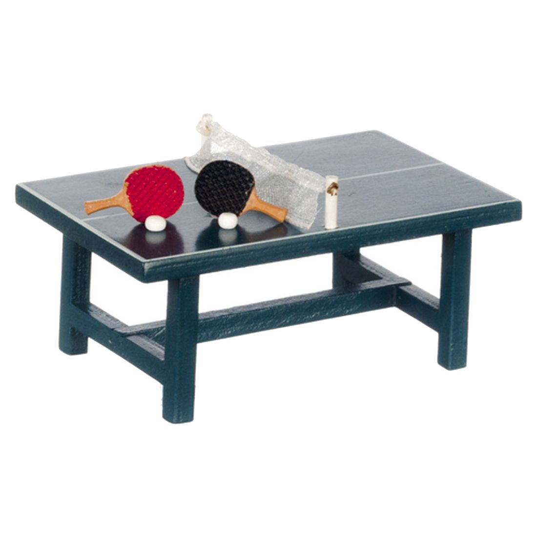 Dollhouse Miniature Decoration PING PONG TABLE WITH BALLS & RACKETSDollhouse Miniature Decoration PING PONG TABLE WITH BALLS & RACKETS