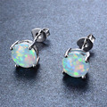 925 Sterling Silver Four-Claw Stud Earrings for Women Fashion White/Blue/Pink/Purple Fire Opal Earrings Wedding Jewelry Ear0545