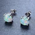 925 Sterling Silver Four-Claw Stud Earrings for Women Fashion White/Blue/Pink/Purple Fire Opal Earrings Wedding Jewelry Ear0545