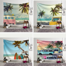 Tropical Summer Beach Tapestry Palm Tree Bus Blue Sky Printed Macrame Wall Hanging Carpet Boho Decor Wall Cloth Tapestries