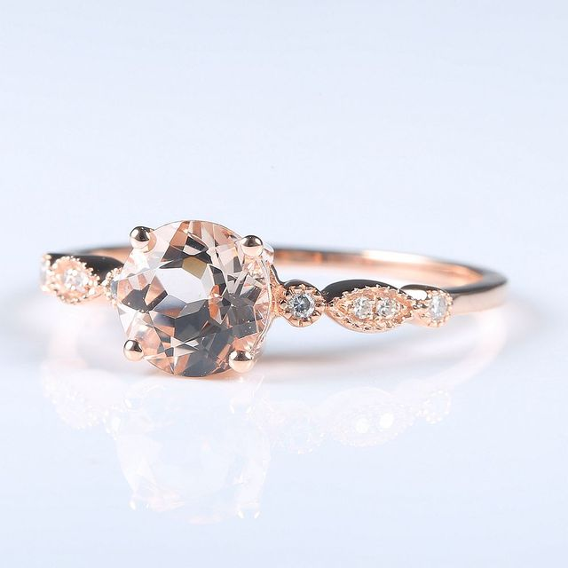 women solid 10k rose gold natural diamonds morganite art deco engagement wedding ring - Art Deco Wedding Ring