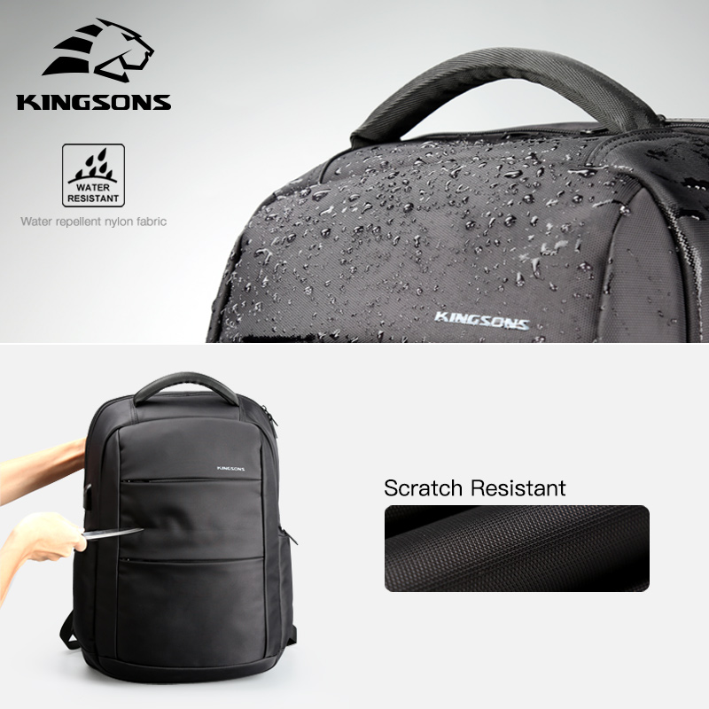 Kingsons External Charging USB Funkcja Plecak na laptopa Anti-Theft Man Business Dayback Women Travel Bag 15.6 cala