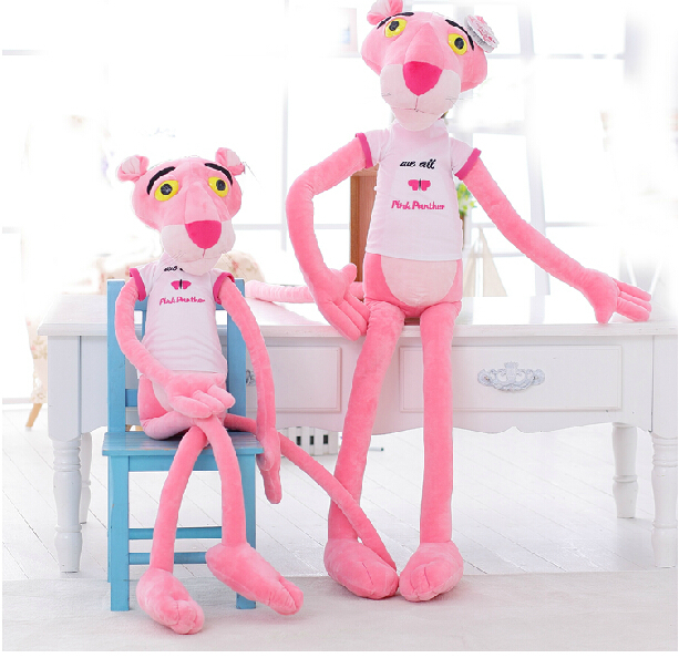Candice guo! Newest arrival cute plush toy pink panther white T-shirt stuffed toy doll birthday gift 1pc
