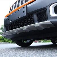 MONTFORD Pour Jeep Renegade 2014 2015 2016 2017 En Alliage D'aluminium Avant Arrière Diffuseur Garde Bumper Protector Plaque de protection Pare-chocs Couverture