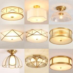 Image 1 - מודרני LED נחושת אקריליק זכוכית תקרת אורות דקורטיבי תאורת מסדרון חדר שינה סלון רטרו E27 מנורות עם