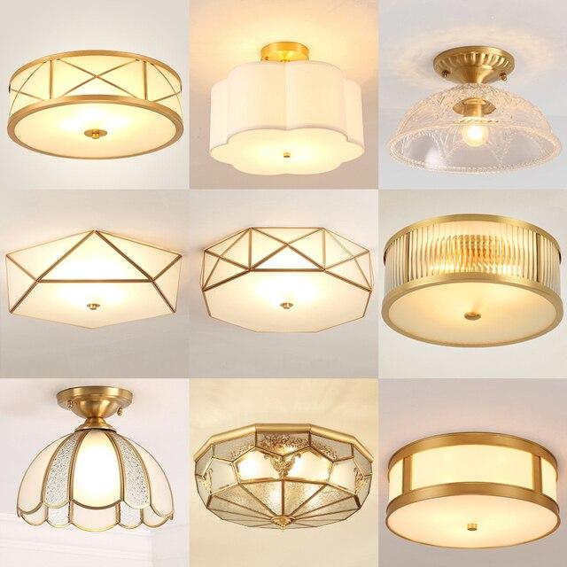 מודרני LED נחושת אקריליק זכוכית תקרת אורות דקורטיבי תאורת מסדרון חדר שינה סלון רטרו E27 מנורות עם