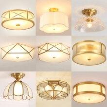Luces de techo de cristal acrílico de cobre LED modernas, iluminación decorativa, pasillo, dormitorio, sala de estar, lámparas Retro E27